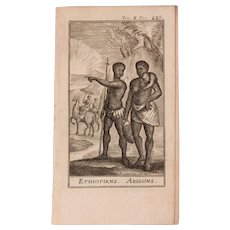 1717 Copper Engraving of the people of Ethiopia and Abyssinia- 18th Century Ethnographic Print