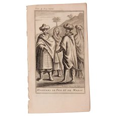 1717 Copper Engraving of the people of  Morocco - 18th Century Ethnographic Print