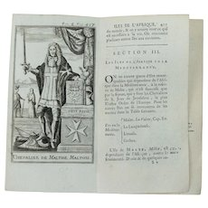 1717 Copper Engraving of the Chevalier / Grand Master of Malta - 18th Century Print