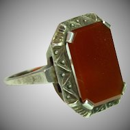 1920`s decorative Art Deco Signet Ring with Carnelian Face - unengraved