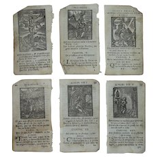 "1767 Set of six Woodcut Prints of Christian devotion - Pictures from Catalan ""The Imitation of Christ"""
