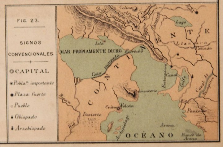 1900 Map of the World & Natural Phenomena- Polychrome Lithograph ...