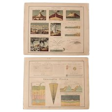 1900 Charts of Volcanoes, Tornadoes, Geography and other natural Phenomena - Polychrome Lithograph