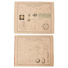 1900 Chart about Astronomy and Geometry - Polychrome Lithograph
