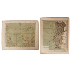 1900 Maps of Portugal, Philippines, Pacific Islands, Guam and the Azores - Polychrome Lithograph