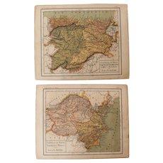 1900 Maps of Castille, Valencia, Murcia, Leon & Asturias - Polychrome Lithograph