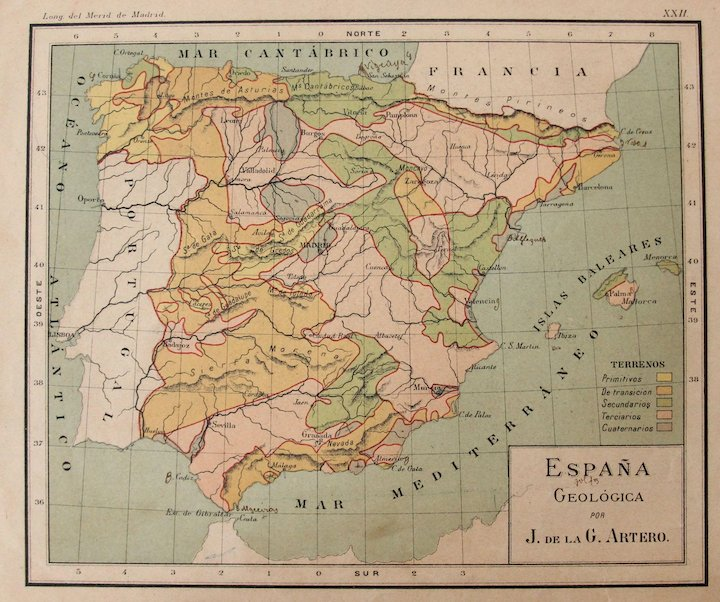 Full Map Of Spain.1900 Maps Of Spain With Its Geological Features Polychrome Lithograph