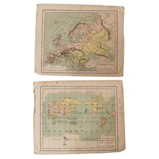1900 Maps of the World and Europe - Polychrome Lithograph