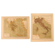 1900 Maps of Italy and Greece - Polychrome Lithograph
