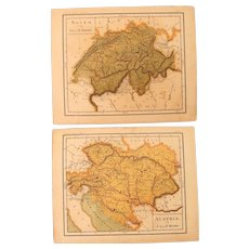 1900 Maps of Austria and Switzerland - Polychrome Lithograph