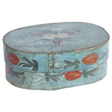 19th Century Large Hat Box / Bonnet Box from Germany / Wood / Hand Painted