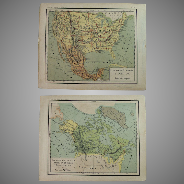 1900 Maps of the USA, Kanada and Mexico - Polychrome Lithograph Reverse Usa Map on 1st usa map, broken usa map, license plate usa map,
