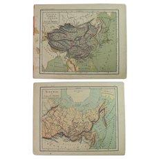 1900 Maps of China, Japan and Korea & Siberia - Polychrome Lithograph