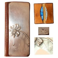 Art Nouveau 800 Silver and Leather Wallet