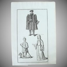 18th Century Copper Engraving of French Nobility by Bernard de Montfaucon