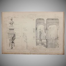 19th Century Print of the Interior of the Eden Theatre in Paris - 1883 Architectural Steel Engraving
