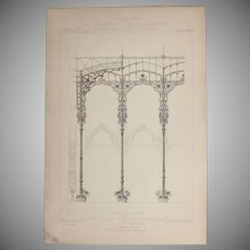 19th Century Print of Parts of the Wintergarden of the Eden Theatre in Paris - 1883 Architectural Steel Engraving