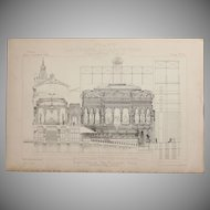19th Century Print of the Profile of the Eden Theatre in Paris - 1883 Architectural Steel Engraving
