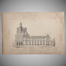 19th Century Print of the Townhall of Plaine-Monceau Paris - 1883 Architectural Steel Engraving