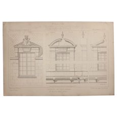 19th Century Print of windows of the Chateau De Prye, Nevers  - 1883 Architectural Steel Engraving