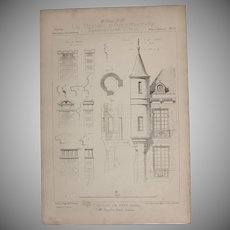 19th Century Print of the tower of the Chateau De Prye, Nevers - 1883 Architectural Steel Engraving