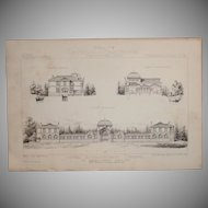 19th Century Print of the Chatelguyon Thermal  Spa - 1883 Architectural Steel Engraving