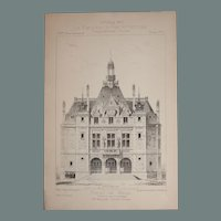 19th Century Print of the Townhall of Les Lilas - 1883 Architectural Steel Engraving
