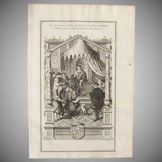 18th Century Copper Engraving of People of Rethel paying tribute to Henri de Lautrec by Bernard de Montfaucon