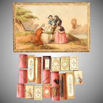 19th Century Bartleet & Sons Needle & sewing Box Set - Lithographs & Embossed