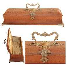 1900's Baroque Revival Leather Box with Bicolored Hardware & Silk Lining - Embossed
