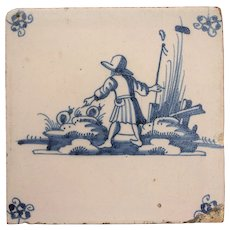 18th Century Delft Tile - Shepherd and Snails - Dutch Blue & White Tile