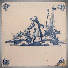 18th Century Delft Tile - Shepherd and Snails - Dutch Blue & White Tile