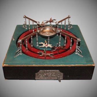"""1900`s French Horse Race Gamble Machine """"Jeu de Course"""" by M.J.&Cie - Antique Race Track Game"""