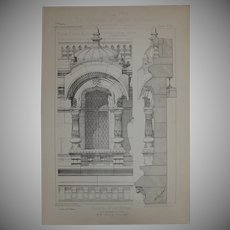 19th Century Print of Details of the Facade the Eden Theatre in Paris - 1883 Architectural Steel Engraving
