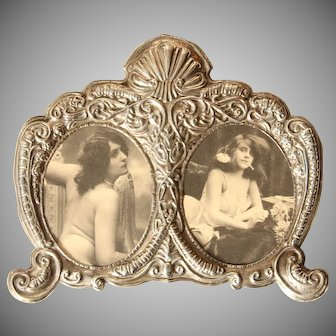 English Sterling Silver Frame in Baroque Design with Erotic Photos