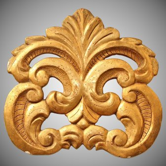 Original 18th Century Baroque Ornament -  Carved Wood Carved with Gilt