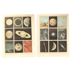 Art Nouveau Print about Astronomy - 1900's Polychrome Lithograph