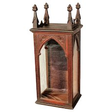 Art Nouveau Carved Wood Shrine - 1900 Catalan Modernista Glass Display Cabinet