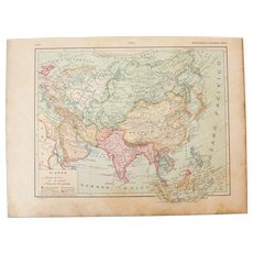 Art Nouveau Map of Asia - 1900's Polychrome Lithograph