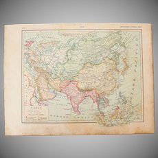 Art Nouveau Map of Asia - 1900's Polychrome Lithograph
