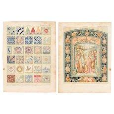 Art Nouveau Print of Antique Tiles - 1900's Polychrome Lithograph