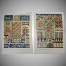 Art Nouveau Set of two Prints of Assyrian Patterns, Architecture & Art Objects - 1900's Polychrome & Metallic Lithograph