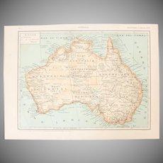 Art Nouveau Map of Australia - 1900's Polychrome Lithograph