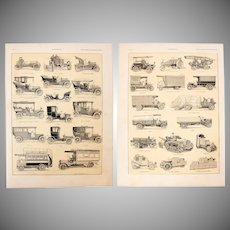 Art Nouveau Print of Cars & other Vehicles - 1900's Polychrome Lithograph