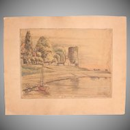 1910's Original Pencil & Pastel Drawing of the Rees and the Rhine River in Germany by Franz Brantzky