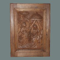 18th Century Annunciation Day Relief / Wood carved Depiction of the Annunciation to the Blessed Virgin Mary