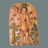 19th Century Folk Art Relief of St. Sebastian - Religious Pottery Pictures