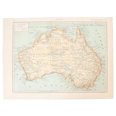 Art Nouveau Map of Australia - 1900's Polychrome Lithograph