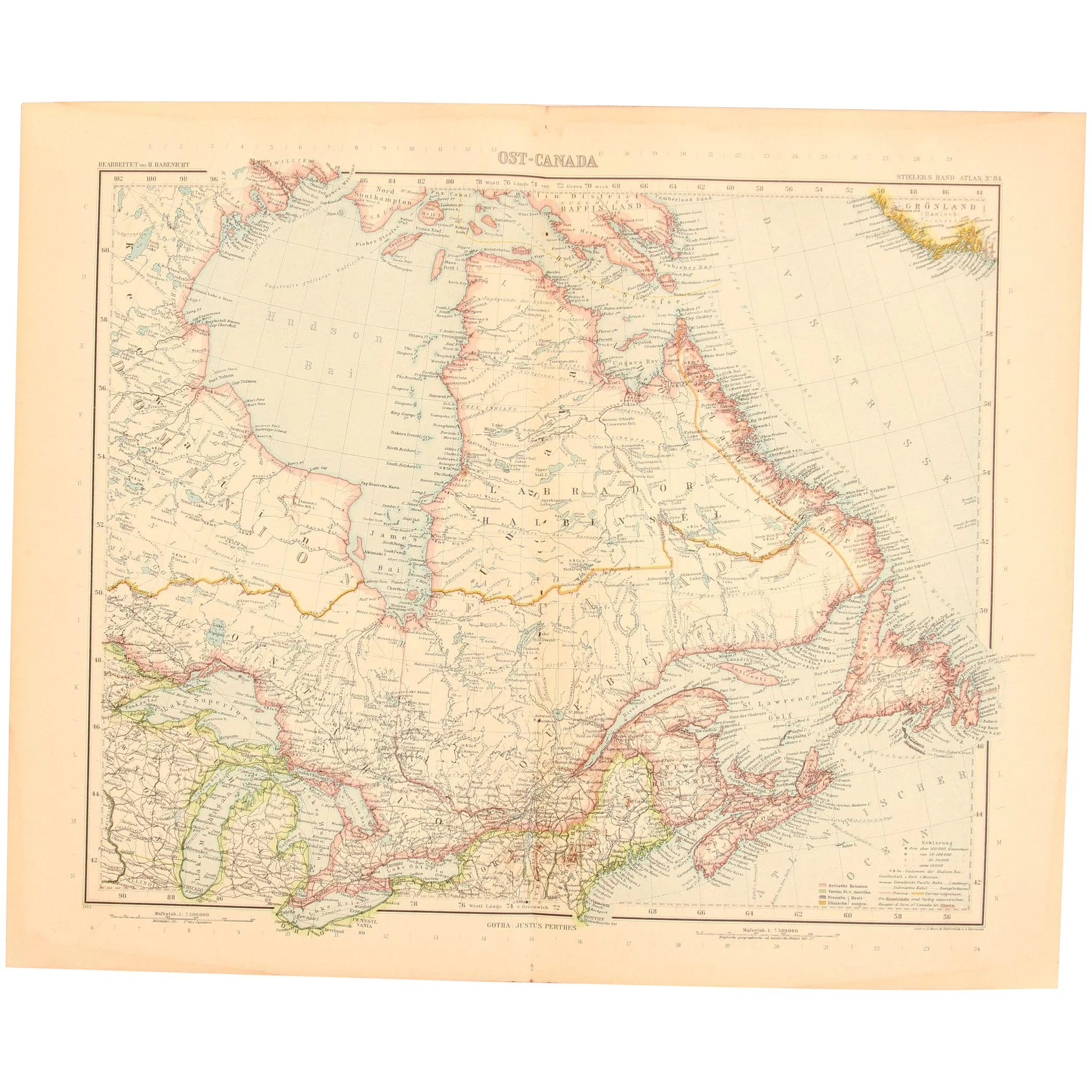 Art Nouveau Map of East Canada incl. Toronto (Stieler 1902)