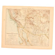 Art Nouveau Map of the South West USA incl. Los Angeles , parts of Mexico and more (Stieler 1902)